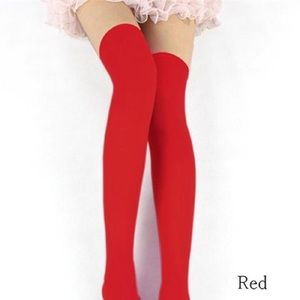 Thigh high/ over the knee red socks used
